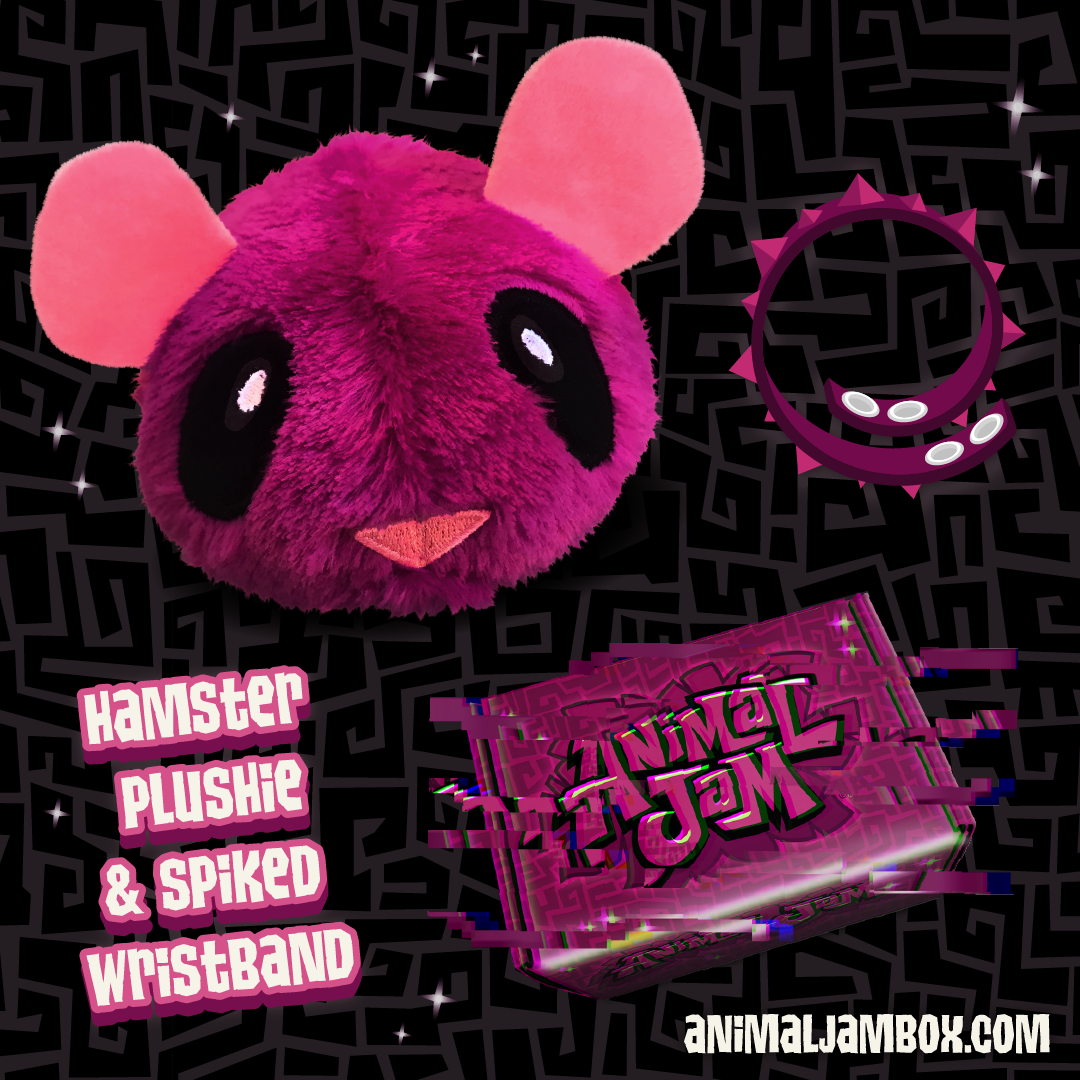 Winter2019 MagentaGlitchBox Plushie and Wristband
